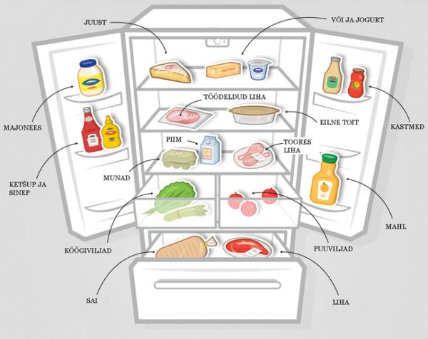 На каких полках какие продукты хранить