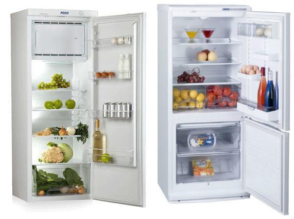 Однокамерный (слева) и двухкамерный (справа) холодильник