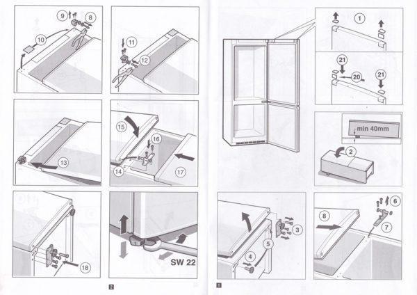 Как перевесить дверь холодильника (схема)