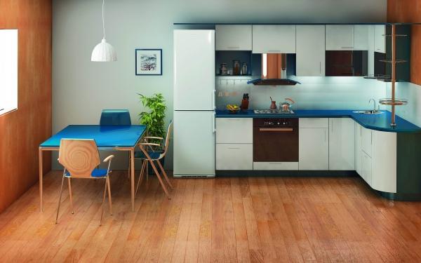 Холодильник Бирюса в интерьере кухни