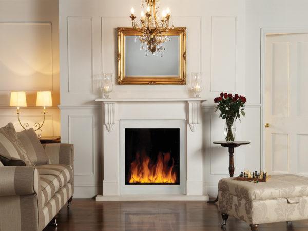 Белый электрокамин для гостиной в классическом стиле