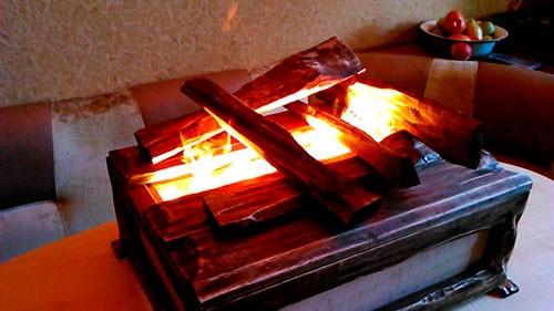 Подсветка пара в электрокамине