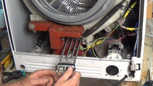 Расположение ТЭНа в стиральной машине