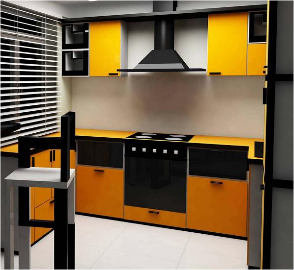 Оранжевая кухня и черная вытяжка