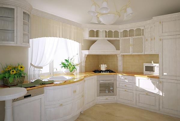 Белая кухня с угловой вытяжкой