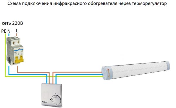 Схема подключения ИК обогревателя