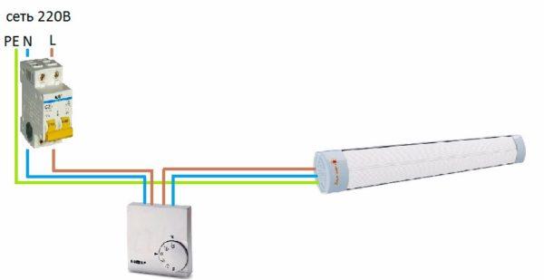 Схема подключения ИК обогревателя через терморегулятор