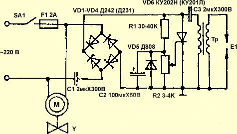 Схема ионизирующего прибора