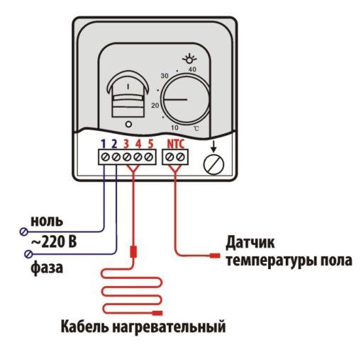 Схема подключения термостата к ИК-обогревателю