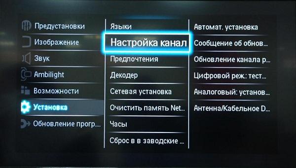 Настройка каналов