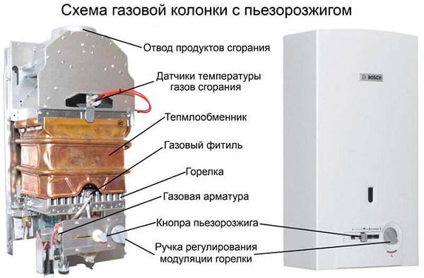 Схема колонки с пьезорозжигом