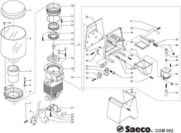 Пример деталировки кофемолки Saeco