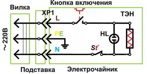Схема электрочайника