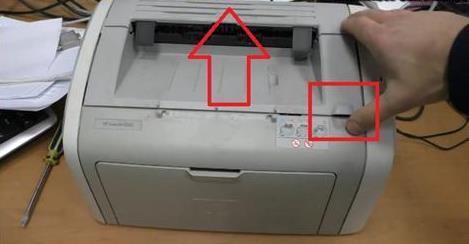 Открытие крышки принтера
