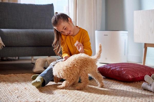 Девочка играет со щенком