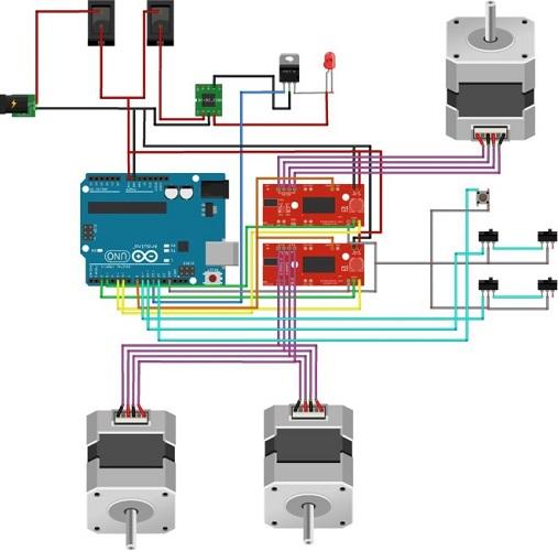 Схема подсоединения шаговых электрических моторов