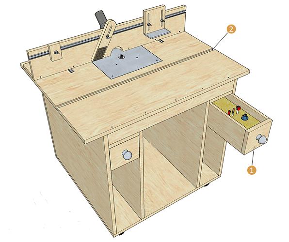 Стол с ящиком для инструмента