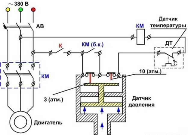Схема подключения автоматики к трем фазам