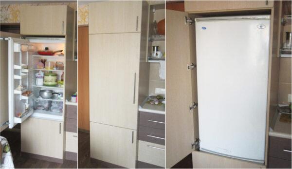 обычный холодильник, встроенный в шкаф