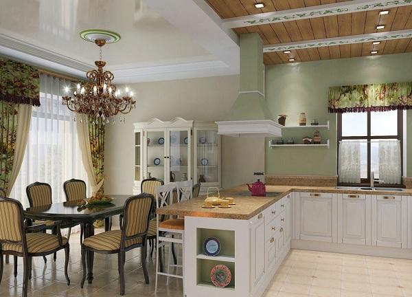 Кухня совмещена со столовой