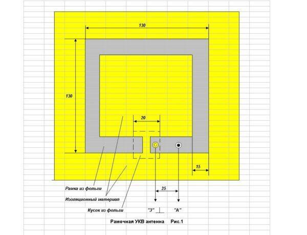 чертеж фм-антенны из фольги и двп