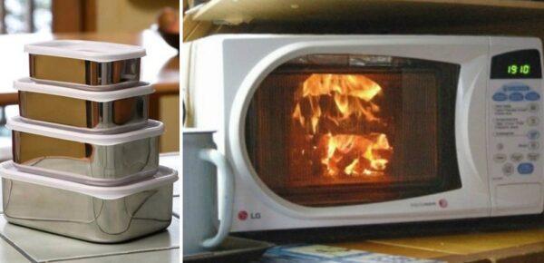 металл в микроволновке загорелся