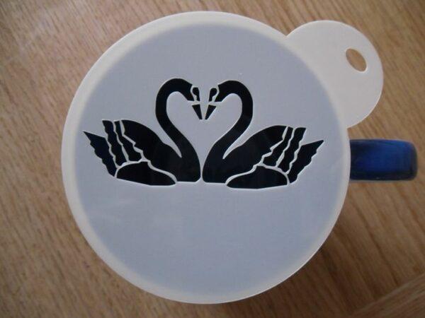 трафарет для кофе лебеди