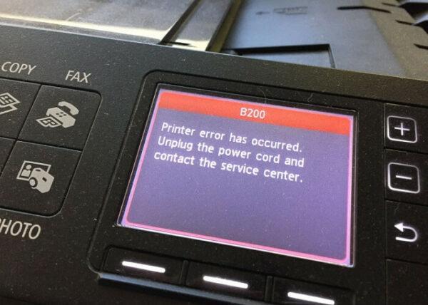 ошибка на дисплее принтера Кэнон
