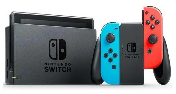 Nintendo Switch rev.2 32 ГБ, неоновый синий, неоновый красный,